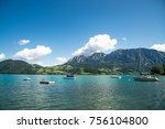 yachts on the lake | Shutterstock . vector #756104800