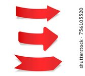 red paper arrows. labels on... | Shutterstock . vector #756105520