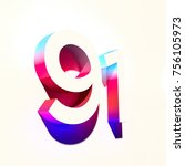 number ninety one 91 of blue... | Shutterstock . vector #756105973