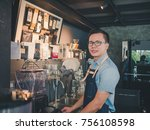 handsome barista wear blue... | Shutterstock . vector #756108598