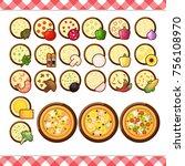 vector   pizza constructor flat ... | Shutterstock .eps vector #756108970