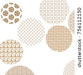 geometric golden patterns... | Shutterstock .eps vector #756112150