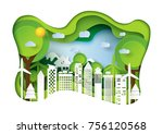 nature landscape and eco... | Shutterstock .eps vector #756120568