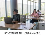 young asian people are working... | Shutterstock . vector #756126754