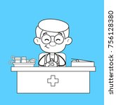 smiling doctor in clinic with... | Shutterstock .eps vector #756128380