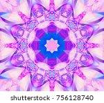 seamless kaleidoscope pink... | Shutterstock . vector #756128740