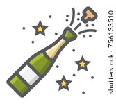 champagne bottle pop filled... | Shutterstock .eps vector #756133510