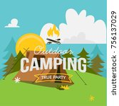 youth day outdoor camping  | Shutterstock .eps vector #756137029