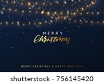 christmas background with... | Shutterstock .eps vector #756145420