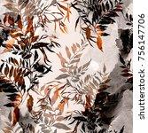 imprints dry leaves seamless... | Shutterstock . vector #756147706