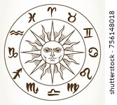 collection of hand drawn zodiac ... | Shutterstock . vector #756148018
