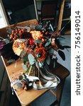 wedding autumn bouquet of... | Shutterstock . vector #756149014
