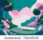 Stock vector fantasy landscape with sun trees and river vector illustration 756149143