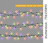 christmas lights isolated... | Shutterstock .eps vector #756155893