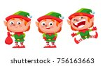 happy christmas elf character... | Shutterstock .eps vector #756163663