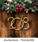 2018 happy new year and  merry... | Shutterstock . vector #756166300