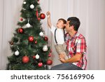 young father with decorating... | Shutterstock . vector #756169906