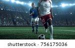 soccer player kicks the ball on ...   Shutterstock . vector #756175036