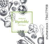 vector frame with vegetables .... | Shutterstock .eps vector #756177958
