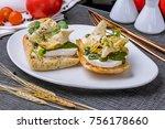bruschetta with mozzarella and... | Shutterstock . vector #756178660