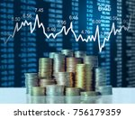 investment concept  coins graph ... | Shutterstock . vector #756179359