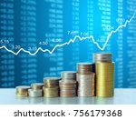 investment concept  coins graph ... | Shutterstock . vector #756179368