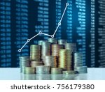 investment concept  coins graph ... | Shutterstock . vector #756179380