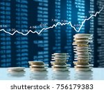 investment concept  coins graph ... | Shutterstock . vector #756179383