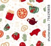 vector winter festive seamless... | Shutterstock .eps vector #756190858