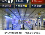 moving walkway at terminal 1 ... | Shutterstock . vector #756191488