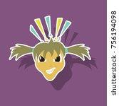 paper sticker on theme evil face   Shutterstock .eps vector #756194098