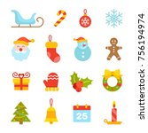 christmas and new year icons ... | Shutterstock .eps vector #756194974