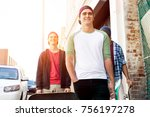 teenage friends walking at the... | Shutterstock . vector #756197278