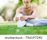 young woman exercising in the... | Shutterstock . vector #756197290