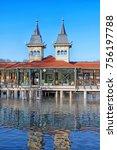 Small photo of Heviz Spa - popular balneal resort. Lake Heviz, Hungary. December 2016