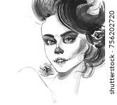 bw portrait of halloween girl... | Shutterstock . vector #756202720