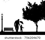 father walking with his child... | Shutterstock .eps vector #756204670