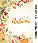 autumn hand drawn vector... | Shutterstock .eps vector #756205180