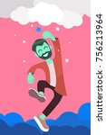man reaching to the star ... | Shutterstock .eps vector #756213964
