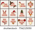big set of christmas hand drawn ... | Shutterstock . vector #756215050