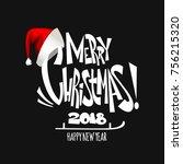 merry christmas lettering.... | Shutterstock .eps vector #756215320