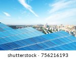 solar panel with cityscape of... | Shutterstock . vector #756216193