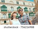 couple on a tourist journey... | Shutterstock . vector #756216988