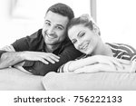 portrait of young couple... | Shutterstock . vector #756222133