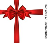 red gift bow and ribbon. | Shutterstock .eps vector #756225298