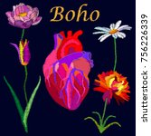 boho heart and blooming flowers....   Shutterstock .eps vector #756226339