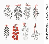 hand drawn bouquets of... | Shutterstock .eps vector #756226960