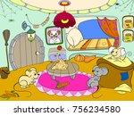 children cartoon house family... | Shutterstock .eps vector #756234580
