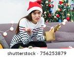 asian woman upset when open... | Shutterstock . vector #756253879