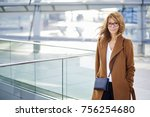 smiling mature woman walking... | Shutterstock . vector #756254680